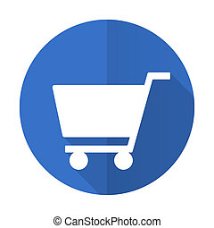 cart blue flat desgn icon with shadow on white background
