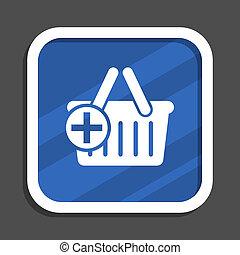 Cart blue flat design square web icon