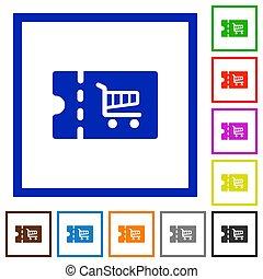 Cart discount coupon flat framed icons - Cart discount...