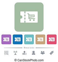 Cart discount coupon flat icons on color rounded square...