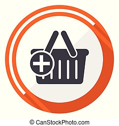 Cart flat design vector web icon. Round orange internet button isolated on white background.