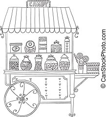 Cart for sale candy. - Cart for sale sweet candy. Vector ...