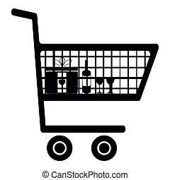 Cart for shopping black color icon