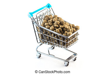 Cart fulfilled with pet food