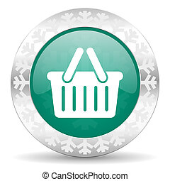cart green icon, christmas button, shopping cart symbol