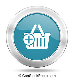 cart icon, blue round glossy metallic button, web and mobile app design illustration