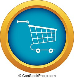 Cart icon blue vector isolated