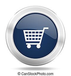 cart icon, dark blue round metallic internet button, web and...