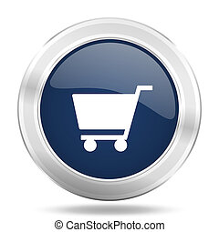 cart icon, dark blue round metallic internet button, web and mobile app illustration