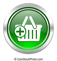 cart icon, green button, shopping cart symbol