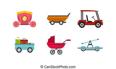 Cart icon set, flat style