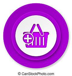 cart icon, violet button, shopping cart symbol