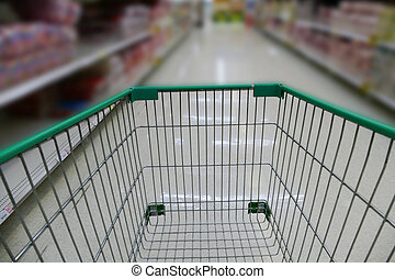cart in supermarket grocery store