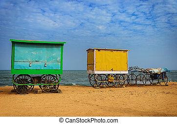 Cart on beach