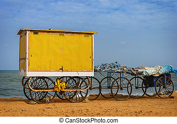 Cart on beach - Old cart on beach in Pondicherry, Tamil...