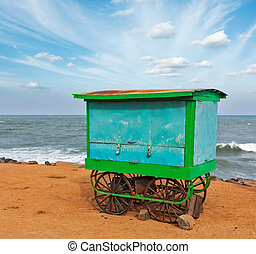 Cart on beach, Tamil Nadu, India