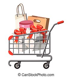 Cart on wheels with shopping icon, cartoon style