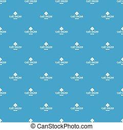 Cart online pattern vector seamless blue