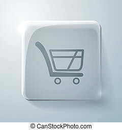 cart online store. Glass square icon