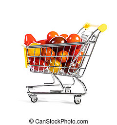cart or shopping trolley full of various tomatoes