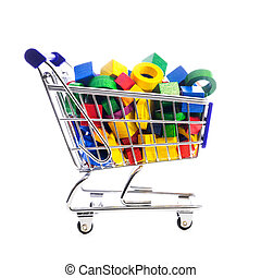 cart or shopping trolley full of wooden blocks and building bricks