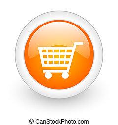 cart orange glossy web icon on white background