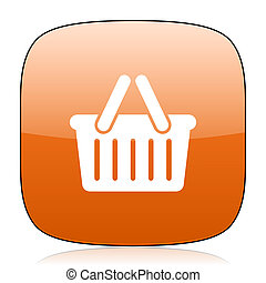 cart orange square web design glossy icon