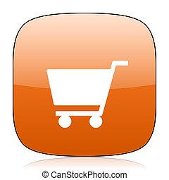 cart orange square web design glossy icon