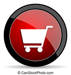 cart red circle glossy web icon on white background - set440