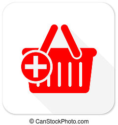 cart red flat icon with long shadow on white background