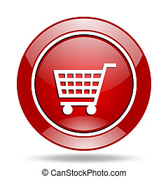 cart red web glossy round icon