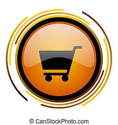 cart round design orange glossy web icon