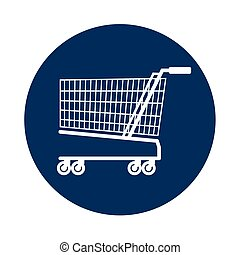 cart shopping blue background circle icon