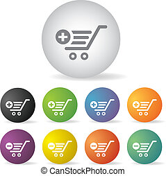 cart shopping  button set
