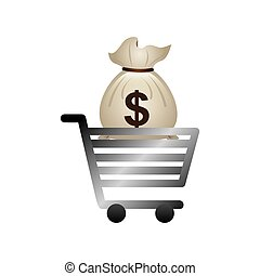 cart shopping with economy icon