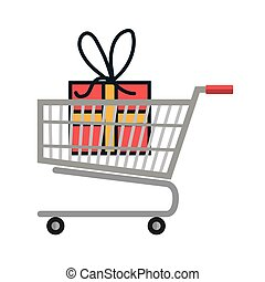 cart shopping with gift box