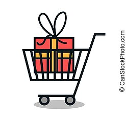 cart shopping with gift icon