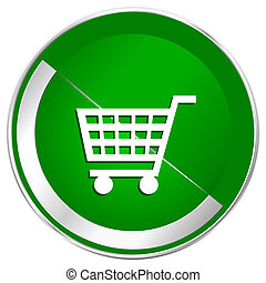 Cart silver metallic border green web icon for mobile apps and internet.