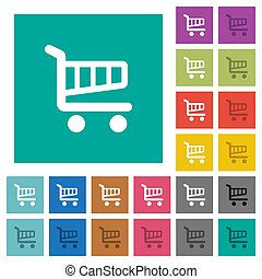 Cart square flat multi colored icons