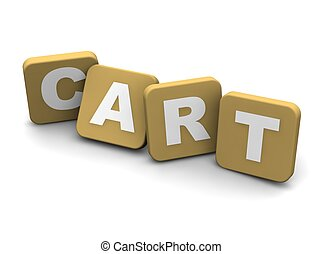 Cart text. 3d rendered illustration isolated on white.