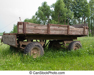 Cart vehicle - Farm land transportation old wheel cart ...