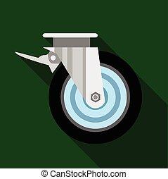 Cart wheel icon, flat style - Cart wheel icon. Flat...
