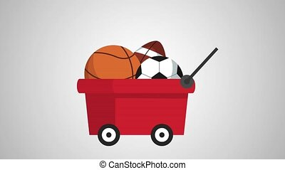 cart with balloons sports animation