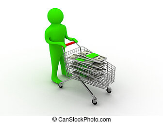 cart with dollar concept