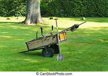 cart with garden tools