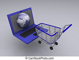 cart with notebook