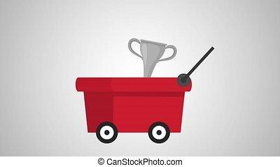 cart with trophys animations illustration design