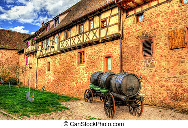 Cart with wine barrels in Riquewihr - Alsace, France