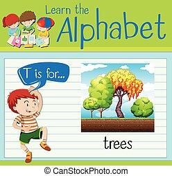 carta, árboles, flashcard, t