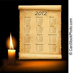 carta, 2012, vecchio, calendario